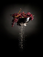 Reflective object, grapes, water