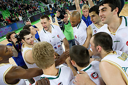 Kenny Gregory (9) of Olimpija, Saso Ozbolt (31) of Olimpija, Vlado Ilievski (6) of Olimpija, Goran Jagodnik (12) of Olimpija, Aloysius Anagonye (8) of Olimpija, Zoran Vrkic (40) of Olimpija, Giorgi Shermadini (16) of Olimpija, Damir Markota (22) of Olimpija celebrate after the  basketball match between KK Union Olimpija (SLO) and Panathinaikos (GRE) in Group D of Turkish Airlines Euroleague, on November 4, 2010 in Arena Stozice, Ljubljana, Slovenia. Union Olimpija defeated Panathinaikos 85-84. (Photo By Vid Ponikvar / Sportida.com)