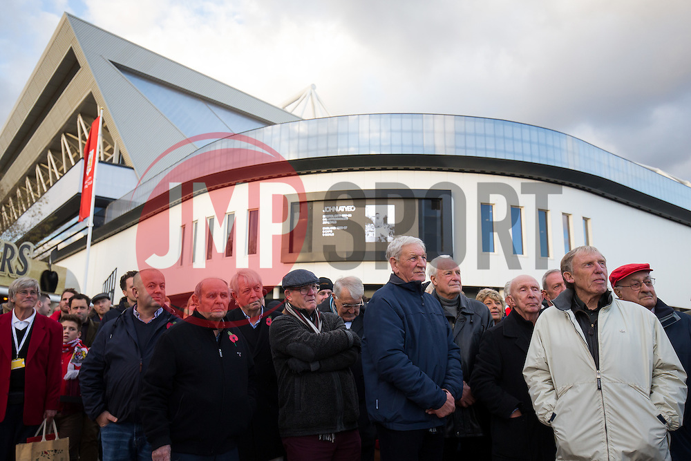 Former teamates look on as a Statue of Bristol City legend John Atyeo is unveiled at the redeveloped Ashton Gate - Rogan Thomson/JMP - 05/11/2016 - FOOTBALL - Ashton Gate Stadium - Bristol, England - Bristol City v Brighton & Hove Albion - Sky Bet Championship.