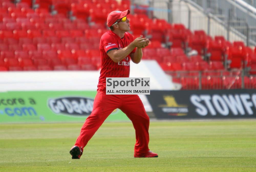 Steven Croft takes a catch in the outfield, Lancashire Lightning vs Durham Dynamos, Emirates Old Trafford, Friends Life t20, 14.07.2013 (c) Thomas Miller | SportPix.org.uk