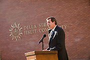 Dedication ceremony and dinner of the new Jesuit residence building, Della Strada. President Thayne McCulloh speaks at Della Strada blessing, dedication. (GU photo by Rajah Bose)