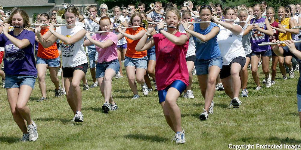 "The ""Pride of the Dutchmen Marching Band"", from MOC-Floyd Valley High School, get in step at band camp on a hot August day.  ""The goal is for this year to be better that the year before,"" said  Steve Connell, who was entering his 27th year as band director."