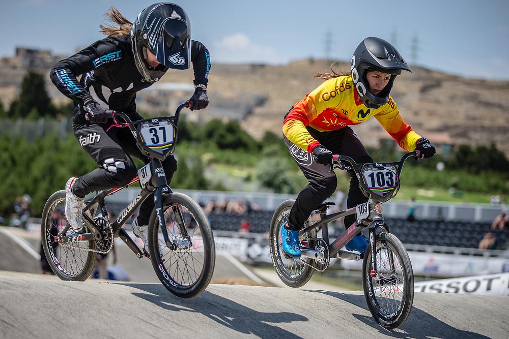 Women Elite #37 (FLEMING Zoe) NZL and Women Elite #103 (GARCIA RECUERO Veronica) ESP at the 2018 UCI BMX World Championships in Baku, Azerbaijan.