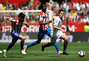 Samir Nasri of Sevilla FC vies with Sergio Alvarez Diaz and Lacina Traore of Sporting Gijon during the Spanish championship Liga football match between Sevilla FC and Sporting Gijon on April 2, 2017 at Sanchez Pizjuan stadium in Sevilla, Spain - photo Cristobal Duenas / Spain / ProSportsImages / DPPI