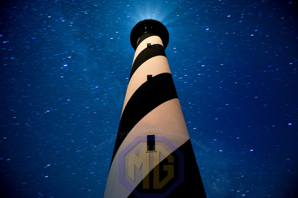 29 July 2011:  The Cape Hatteras Light house taken at night with long exposures to show the star trails.
