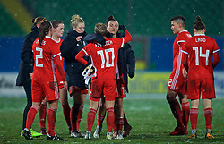 CESENA, ITALY - Tuesday, January 22, 2019: Wales' Natasha Harding and Jessica Fishlock after the International Friendly between Italy and Wales at the Stadio Dino Manuzzi. Italy won 2-0. (Pic by David Rawcliffe/Propaganda)