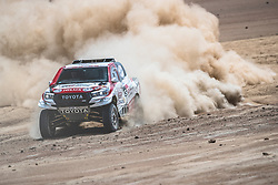 Giniel de Villiers (ZAF) and Dirk Von Zitzewitz (DEU) of Toyota Gazoo Racing SA race during stage 4 of Rally Dakar 2019 from Arequipa to Tacna, Peru on January 10, 2019. // Flavien Duhamel/Red Bull Content Pool // AP-1Y3A5ZJW92111 // Usage for editorial use only // Please go to www.redbullcontentpool.com for further information. //
