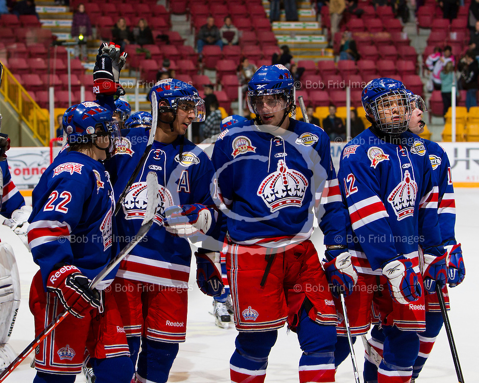 16 December  2011:  Tyson Witala (22),  Jujhar Khaira. Ben Woodley (10), Latrell Charleson (12) of the Kings   during a game between the Chilliwack Chiefs and the Prince George Spruce Kings.  Prospera Centre, Chilliwack, BC.    Final Score (OT): Chilliwack 2  Prince george 3   ****(Photo by Bob Frid/Freemotionphotography.ca) All Rights Reserved : cell 778-834-2455 : email: bob.frid@shaw.ca ****