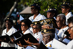 Patrick U. George Post 90 Choir.  Veteran's Day Parade and Program at the Frankliin Delano Roosevelt Memorial Park in Charlotte Amalie.  St. Thomas.  11 November 2013.  © Aisha-Zakiya Boyd