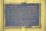 The National Historic Site plaque at the Cumbres & Toltec Scenic Railroad train depot, Chama, New Mexico