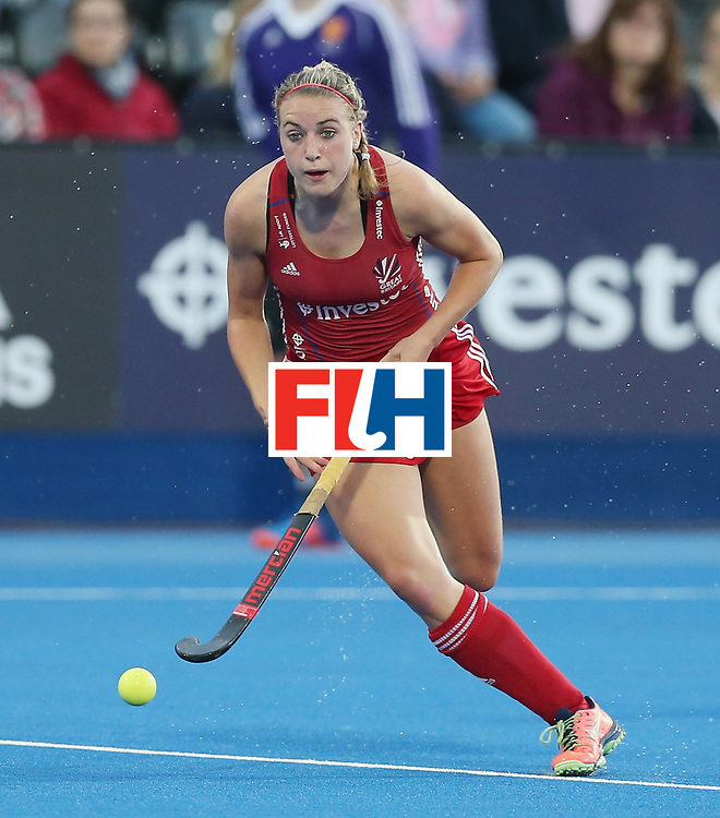 LONDON, ENGLAND - JUNE 21: Lily Owsley of Great Britain during the FIH Women's Hockey Champions Trophy match between New Zealand and Great Britain at Queen Elizabeth Olympic Park on June 21, 2016 in London, England.  (Photo by Alex Morton/Getty Images)