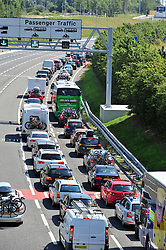 &copy; Licensed to London News Pictures. 23/07/2016<br /> EURO TUNNEL TRAFFIC.<br /> M20 traffic near the Euro Tunnel Service Station at the back of a very very long queue into Dover, kent.<br /> Dover bound traffic ON THE  M20 in Kent at Junction 11A AND 12.  Queueing traffic because of very long delays at French border contol. <br /> <br /> <br /> (Byline:Grant Falvey/LNP)