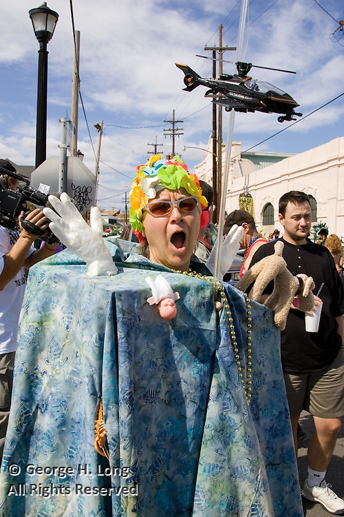 Hurricane Katrina's impact translated into a costume at Mardi Gras in the Faubourg Marigny of New Orleans