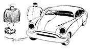(A stout woman with a stout dog get into a stout car driven by a stout chauffer)