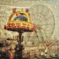 Coney Island pleasure park scene