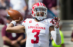 Louisiana-Lafayette quarterback Joe Davis (3) passes down field against Texas A&M during the first quarter of an NCAA college football game Saturday, Sept. 16, 2017, in College Station, Texas. (AP Photo/Sam Craft)
