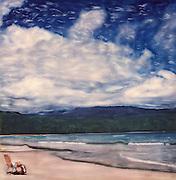 altered Polaroid of lone beach chair on beach at Hannalei Bay, Kauai, Hawaii