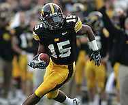 17 NOVEMBER 2007: Iowa wide receiver Derrell Johnson-Koulianos (15) in Western Michigan's 28-19 win over Iowa at Kinnick Stadium in Iowa City, Iowa on November 17, 2007. The play was called back as Johnson-Koulianos was called out of bounds on the catch.