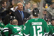 DALLAS, TX - OCTOBER 17:  Head coach Lindy Ruff of the Dallas Stars has words with his team against the San Jose Sharks on October 17, 2013 at the American Airlines Center in Dallas, Texas.  (Photo by Cooper Neill/Getty Images) *** Local Caption *** Lindy Ruff