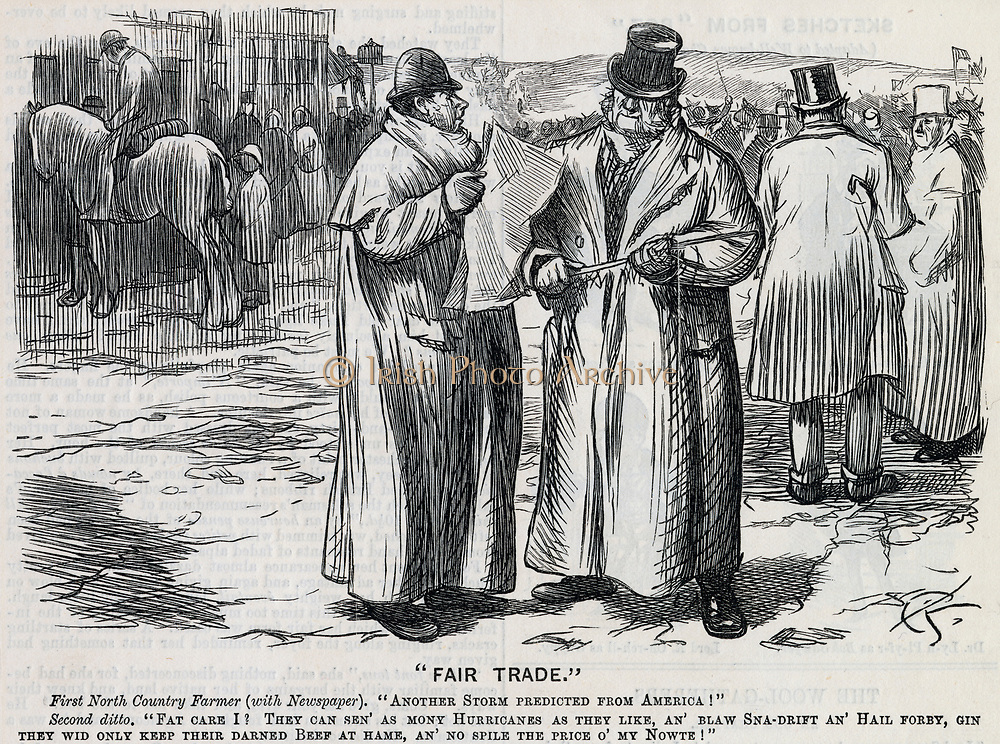 British farmers unsympathetic to natural disasters in the USA. Cartoon from 'Punch', London, 1882.