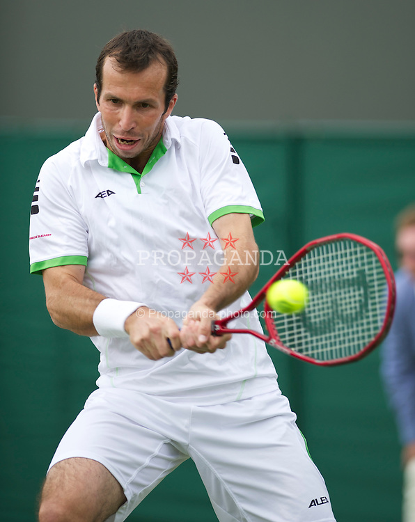 LONDON, ENGLAND - Tuesday, June 21, 2011: .Radek Stepanek (CZE) in action during the Gentlemen's Singles 1st Round match on day two of the Wimbledon Lawn Tennis Championships at the All England Lawn Tennis and Croquet Club. (Pic by David Rawcliffe/Propaganda)