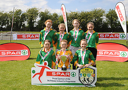 St Joseph&rsquo;s NS Woodford Co Galway finalists in the SPAR FAI Primary Schools 5&rsquo;s Connacht finals, pictured at Solar Park Mayo with their Cup and medals. As winners they will progress to the SPAR FAI Primary School 5&rsquo;s National Finals in the Aviva Stadium on May 31st.<br />