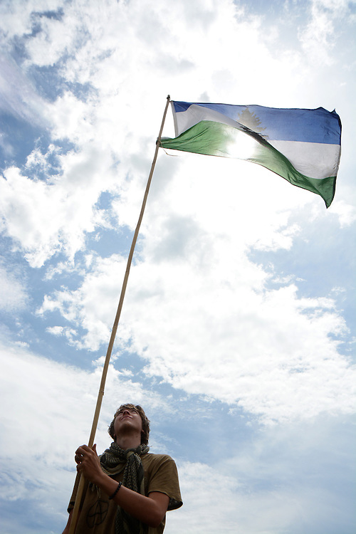 Flying the Cascadian Flag.  Rainbow Gatherings started back in 1972, acts of self-expression, inclusiveness, and the right to peacefully assemble. Rainbow Gathering 2013 was held in Montana, outside of Jackson.