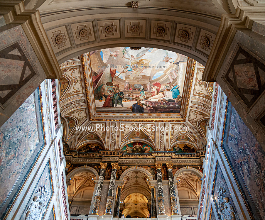 Interior of the Kunsthistorisches Museum (Museum of Fine Arts) in Vienna, Austria. Staircase with ceiling painting by Mihaly Munkacsy, 1890,
