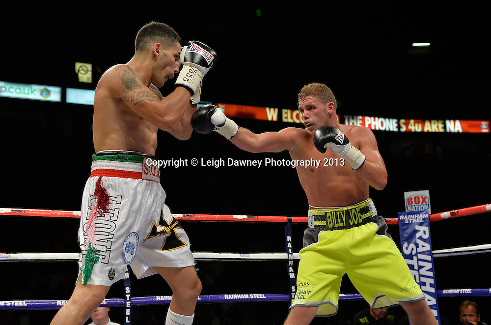 Billy Joe Saunders defeats Emanuele Blandamura for the European Middleweight Title on 26th July 2014 at the Phones 4U Arena, Manchester. Promoted by Frank Warren. © Credit: Leigh Dawney Photography. Billy Joe Saunders defeats Emanuele Blandamura for the European Middleweight Title on 26th July 2014 at the Phones 4U Arena, Manchester. Promoted by Frank Warren. © Credit: Leigh Dawney Photography.