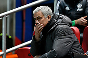 Manchester United manager Jose Mourinho looking apprehensive before the EFL Cup match between Bristol City and Manchester United at Ashton Gate, Bristol, England on 20 December 2017. Photo by Graham Hunt.