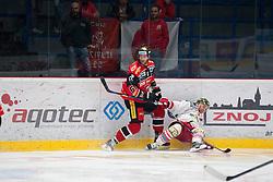 25.09.2016, Ice Rink, Znojmo, CZE, EBEL, HC Orli Znojmo vs HCB Suedtirol Alperia, 4. Runde, im Bild v.l. Andre Lakos (HC Orli Znojmo) Nicholas Palmieri (HCB Sudtirol) // during the Erste Bank Icehockey League 4th Round match between HC Orli Znojmo and HCB Suedtirol Alperia at the Ice Rink in Znojmo, Czech Republic on 2016/09/25. EXPA Pictures © 2016, PhotoCredit: EXPA/ Rostislav Pfeffer