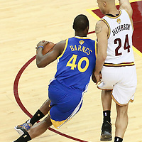 10 June 2016: Golden State Warriors forward Harrison Barnes (40) drives past Cleveland Cavaliers forward Richard Jefferson (24) during the Golden State Warriors 108-97 victory over the Cleveland Cavaliers, during Game Four of the 2016 NBA Finals at the Quicken Loans Arena, Cleveland, Ohio, USA.