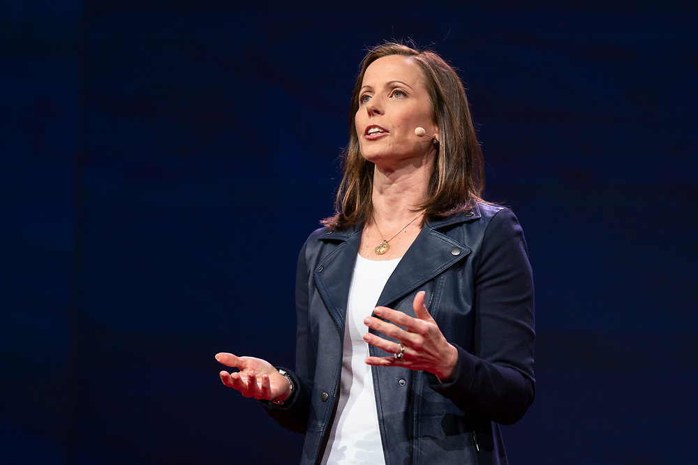 Adena Friedman speaks at TED2019: Bigger Than Us. April 15 - 19, 2019, Vancouver, BC, Canada. Photo: Bret Hartman / TED