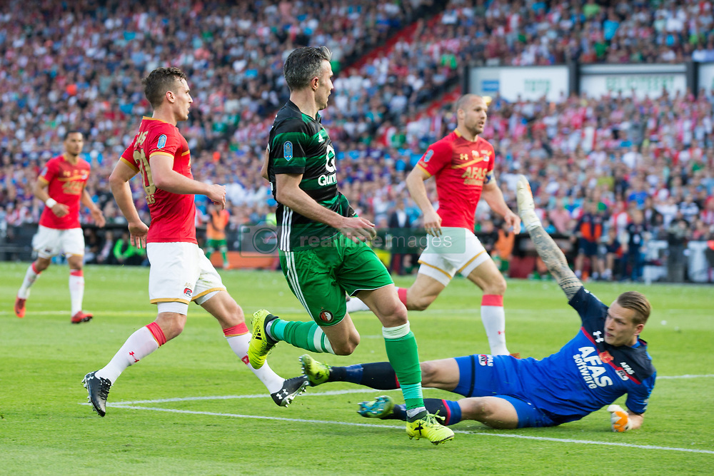 Stijn Wuytens of AZ, Robin van Persie of Feyenoord, Ron Vlaar of AZ , goalkeeper Marco Bizot of AZ during the Dutch Toto KNVB Cup Final match between AZ Alkmaar and Feyenoord on April 22, 2018 at the Kuip stadium in Rotterdam, The Netherlands.