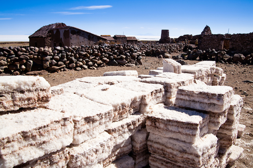 Salt blocks await the construction of a salt hotel in the village of Coquesa next to the Salar de Uyuni in Bolivia's Altiplano.