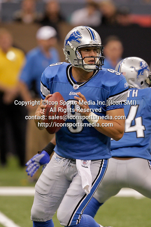 2009 September 13: Detroit Lions rookie quarterback Matthew Stafford (9) looks to throw during a 45-27 win by the New Orleans Saints over the Detroit Lions at the Louisiana Superdome in New Orleans, Louisiana.