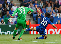 Football - 2016/2017 Premier League - Leicester Ciity V Arsenal. <br /> <br /> Shinji Okazaki of Leicester City closes down on Petr Cech of Arsenal as he tries to clear the ball at The King Power Stadium.<br /> <br /> COLORSPORT/DANIEL BEARHAM