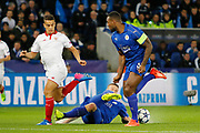 Leicester City Defender Robert Huth tackles Sevilla midfielder Pablo Sarabia (17) during the Champions League round of 16, game 2 match between Leicester City and Sevilla at the King Power Stadium, Leicester, England on 14 March 2017. Photo by Richard Holmes.