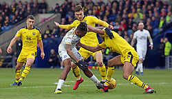 Ivan Toney of Peterborough United battles for the ball with Curtis Nelson of Oxford United - Mandatory by-line: Joe Dent/JMP - 16/02/2019 - FOOTBALL - Kassam Stadium - Oxford, England - Oxford United v Peterborough United - Sky Bet League One