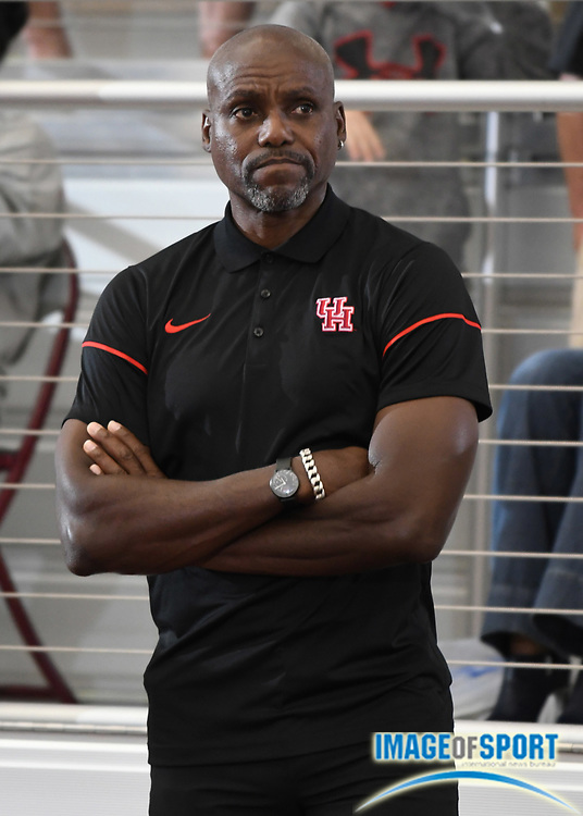 Mar 11, 2017; College Station, TX, USA; Houston Cougars assistant coach Carl Lewis reacts during the NCAA Indoor Track and Field Championships at the Rhonda and Frosty Gilliam Jr. Indoor Track Stadium at the McFerrin Athletic Center.