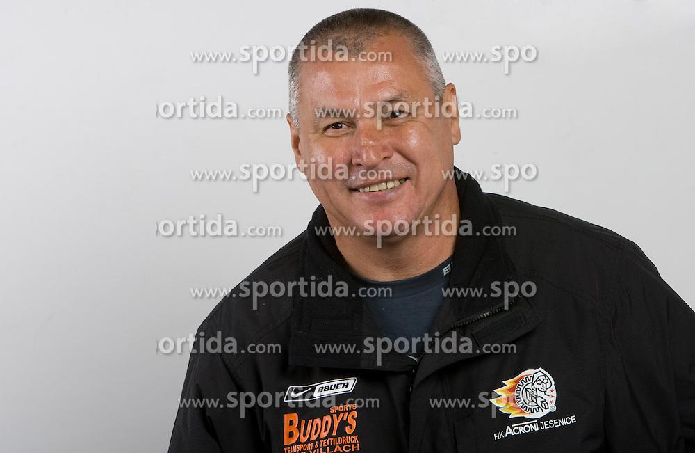 Head coach Rahmatullin Ildar at HK Acroni Jesenice Team roaster for 2009-2010 season,  on September 03, 2009, in Arena Podmezaklja, Jesenice, Slovenia.  (Photo by Vid Ponikvar / Sportida)