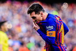 March 30, 2019 - Barcelona, BARCELONA, Spain - 10 Leo Messi of FC Barcelona celebrating his goal kissing his FC Barcelona shield at his t-shirt during the ''Derby'' of La Liga match between FC Barcelona and RCD Espanyol in Camp Nou Stadium in Barcelona 30 of March of 2019, Spain. (Credit Image: © AFP7 via ZUMA Wire)