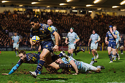 Worcester Winger (#11) David Lemi runs in a try for his side during the first half of the match - Photo mandatory by-line: Rogan Thomson/JMP - Tel: Mobile: 07966 386802 04/01/2012 - SPORT - RUGBY - Sixways - Worcester. Worcester Warriors v Leicester Tigers - Aviva Premiership.