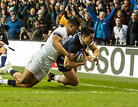 EDINBURGH, SCOTLAND - FEBRUARY 24:  Scotland's Sean Maitland dives over the line to score his side's 2nd try at BT Murrayfield on February 24, 2018 in Edinburgh, Scotland. (Photo by MB Media/Getty Images)
