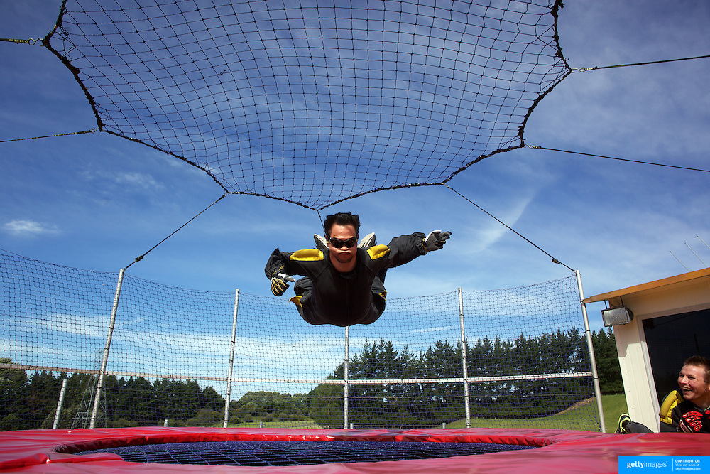A man at AgroVentures experience the Freefall Xtreme, wind tunnel at AgroVentures Adventure Park,  Paradise valley road, Rotorua. .Agroventures  attractions include has the world's only Shweeb, a pedal powered mono rail, Agrojet, a jet boat sprint experience, Swoop  swing from 40m towards the earth at 130kmph and the Southern Hemispheres' only Freefall Xtreme, wind tunnel. Rotorua, New Zealand,, 10th December 2010. Photo Tim Clayton
