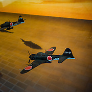 Tokyo, April 10 2014 -Model of an aircraft on display Inside Yushukan, Yasukuni's war museum.