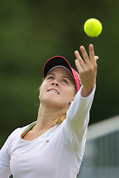 LIVERPOOL, ENGLAND - Thursday, June 16, 2011: Eugenie Bouchard (CAN) in action during day one of the Liverpool International Tennis Tournament at Calderstones Park. (Pic by David Rawcliffe/Propaganda)
