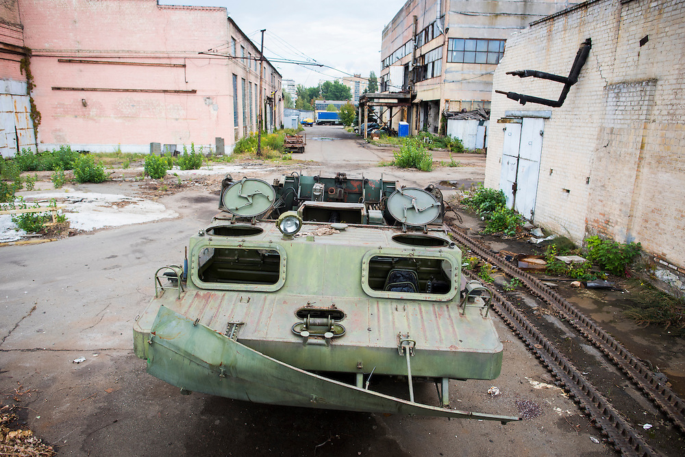 An amphibious tracked vehicle awaiting modificiation is seen outside Azov Engineering Group's garage on September 9, 2015 in Kyiv, Ukraine.