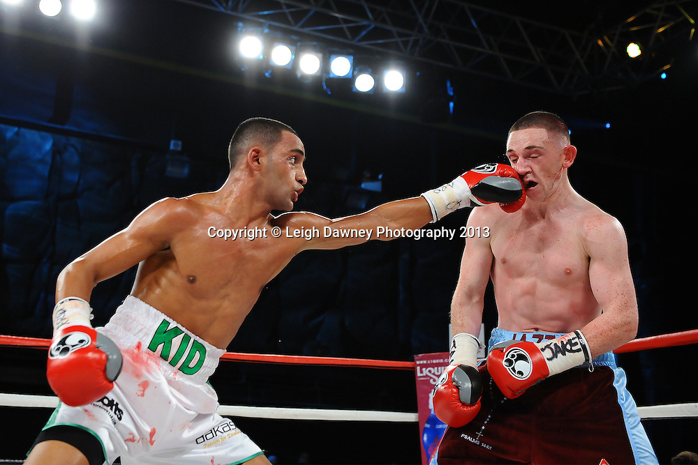 Kid Galahad defeats James Dickens for the vacant British Super Bantamweight Title, Saturday 14th September 2013 at the Magna Centre, Rotherham. Hennessy Sports.  © Credit: Leigh Dawney Photography.