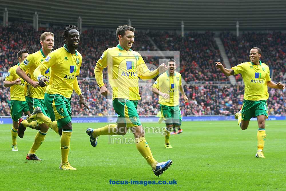 Picture by Paul Chesterton/Focus Images Ltd +44 7904 640267.17/03/2013.Wes Hoolahan of Norwich scores his sides 1st goal from Kei Kamara of Norwich's head down and celebrates during the Barclays Premier League match at the Stadium Of Light, Sunderland.